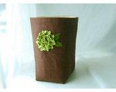 Box Linen burlap Brown Green Hydrangea flower diaper caddy weddings decor  Chocolate Organizer Bin Storage Basket Gift Wrap