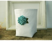 white linen box Blue Hydrangea flower Wool Felt diaper caddy Weddings decor Linen Organizer Bin Storage Basket  Handmade tagt team Gift Wrap - hoganfe