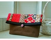 clutch purse Brown Red Black Linen clutch Rose Leopard Bridesmaid Gift Under 25 Wedding Accessory MakeUp Travel Gadget Bag