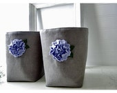 Flower Grey Gray linen burlap Box bin basket Storage Set 2  etsy Weddings decor Party Gift Wrap  periwinkle blue Fabric Organizer