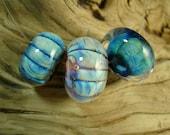 LBL Lampwork Bead Set (3) - Silver Glass Baleen Trio