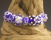 LBL Lampwork Glass Beads -  7 Cobalt/White Beads