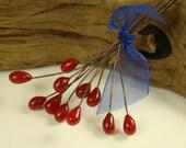 24 ga Copper Lampwork Headpins - Holly Berries