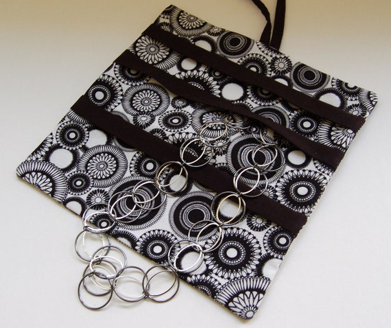 Jewelry Bag Roll Black and White