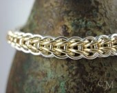 Sterling Silver & Gold Fill Chainmaille Bracelet - Full Persian Weave Chainmail - Ready to Ship - 10% loaned through Kiva.org