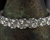 Peridot Clasp (OOAK) Rosetta Weave Bracelet - Sterling Silver Chainmaille, Chainmail - Ready to Ship - 10% loaned through Kiva.org