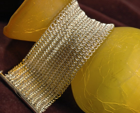 Wide Fine Mesh Chain Maille Bracelet Cuff (European 4 in 1 in 20g Sterling Silver) - No Shipping Fees
