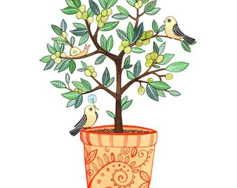 Children Wall Art print - Tuscan Birds and Olive Tree 8x10  nursery wall art, Nursery art print, baby nursery, nursery decor, kids art