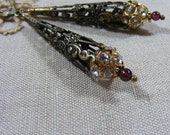 Reserved for Gail, Rustic Sparkle, Crystal Garnet and Antiqued Brass Earrings