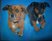 Pet Portrait Original Oil Painting 8 x 10 in dachshund Couple by Pigatopia