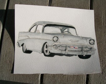 Muscle Car Portrait 1957 Chevy Watercolor 11 x 15 Inches You Provide the Photo or Idea Made to Order by Shannon Ivins Pigatopia