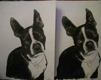 Boston Terrior Pet Portraits Original Watercolor Memorial U Provide Picture or Idea 9 x 12 inch by Pigatopia