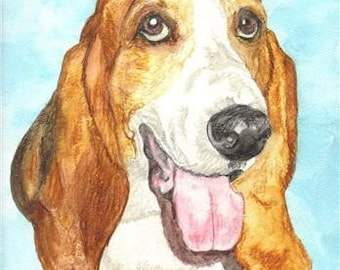 Bassett Hound Pet Portraits Original Watercolor Memorial U Provide Picture or Idea 9 x 12 inch by Pigatopia