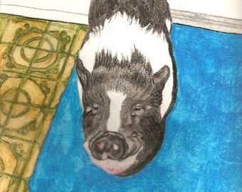 Black and White Pot Bellied Pig Original Watercolors U Send the Picture or Idea Made to Order 9 x 12 inch Pig / Horse / Dog / Cat / Dragons