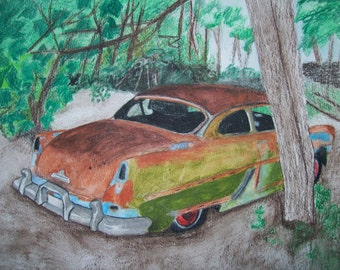 1954 Hudson Coupe Lost In the Woods Original Watercolor 9 x 12 inches by Pigatopia