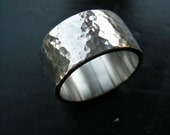 MADE TO ORDER Men's Thick Hammered Silver Band
