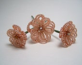 Set of 3 Beaded Floral Hair Embellishments