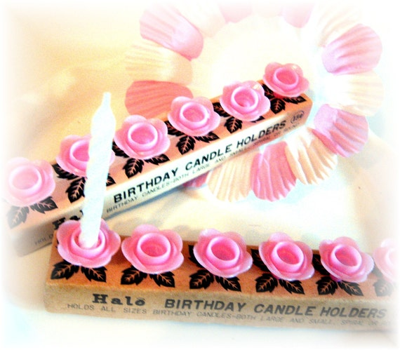 Fun Girly Pink Vintage Halo Birthday Candle Holders SALE