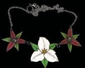 Triple Trillium Necklace