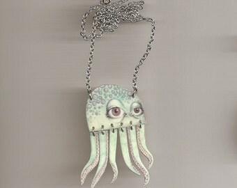 Small Aqua Octopus Necklace