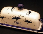 Dragonfly. Butter Dish.Blue Dragonfly Knobbed Butter Dish. Blue. Dragonfly. Butter. Dish. Tray. Handmade by Sara Hunter Designs.