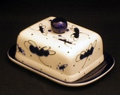 Butter Dish.Blue Dragonfly Knobbed Double Butter Dish. Blue. Dragonfly. Kerrygold. Double. Butter. Handmade by Sara Hunter Designs.