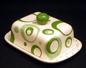 Butter Dish.Circle Knobbed Double Butter Dish. Circle. Dot. Kerrygold. Butter. Handmade by Sara Hunter Designs.