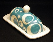 Butter Dish.Aqua and White Solid Knobbed Butter Dish. Aqua. Circle. Dot. White. Butter. Handmade by Sara Hunter Designs.