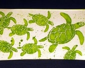Platter. Sea Turtle. Mommy and with Babies Sea Turtle Rectangular Platter. Sea. Turtle. Handmade by Sara Hunter Designs.