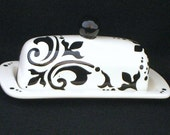 Butter Dish.Butter Dish. Black and White Damask Butter Dish. Floral. Damask. Handmade by Sara Hunter Designs on Etsy