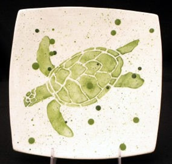 Plate. Salad. Sea Turtle Dinner Plate. Salad Plate. Green. Dots. Handmade by Sara Hunter Designs