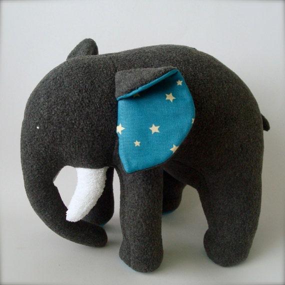 Plush Elephant - Grey with White Stars on Blue