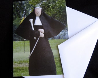 GreetingCard, Catholic humor, golfer, golf tee, woman golfer, golf tee, golf course, Sister Holyn One, the golfing nun