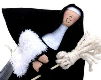 Sale-Nun Doll Catholic humor gift,  cleaning lady with mop, woman who loves to clean,  fun nun figurine, cleaning maid, Sister Immaculata