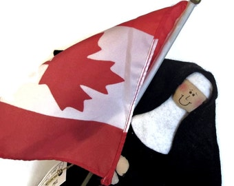Nun Doll Decoration Religious Catholic humor keepsake gift Patriotic Canadian  'I am Canadi-nun'