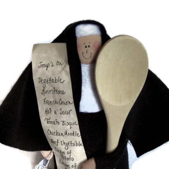Funny nun doll, sister doll, gift for cooks, kitchen decor, recipe lover, cute Catholic gift, Mother Souperior
