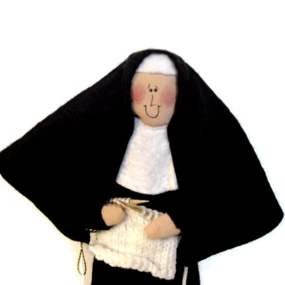 Nun doll, sister doll, gift for knitter, knitting doll, yarn enthusiast, Catholic keepsake