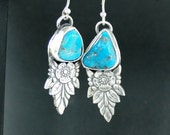 Reserved.....................Art Deco, Kingman mine Turqouise nuggets, sterling silver earrings