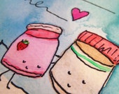 PB loves J 4 EVA - one handpainted blank notecard