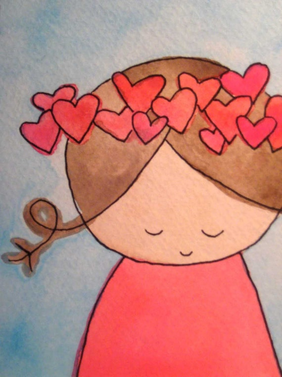 crown of hearts - ONE blank notecard