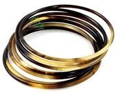 Handmade Organic Horn Bangle Bracelets Set of 7