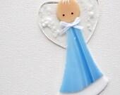 016 - Guardian angel, baby boy, blue, adoption, baptism, loss, white hair, cgge, etsylush, handmade