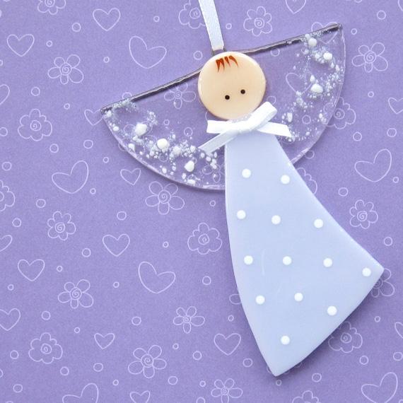 037 - Polka dot angel ornament, mauve, decoration, guardian angel, baptism, adoption, shower, cgge, etsylush, handmade