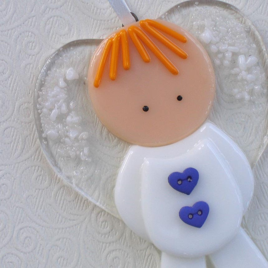 117 Angel Blue Christmas Ornament Baptism Shower: Little Boy Angel Fused Glass Ornament Blonde Hair