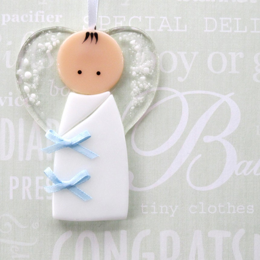 Christening Ornaments Baby Christmas Ornaments: 002 Baby Boy Ornament Decoration Guardian Angel Baptism