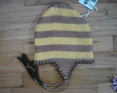 knit baby or toddler hat, yellow and brown, 12 mos