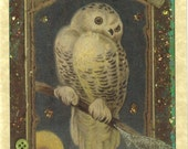 SALE Snowy Owl Art Print  FREE SHIPPING