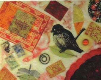 Beeswax bird collage