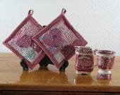 Pink Quilted Collage Applique with Hearts Potholders Set of 2 PH114