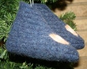 SALE Toddler Blue Football Felted Wool Slippers